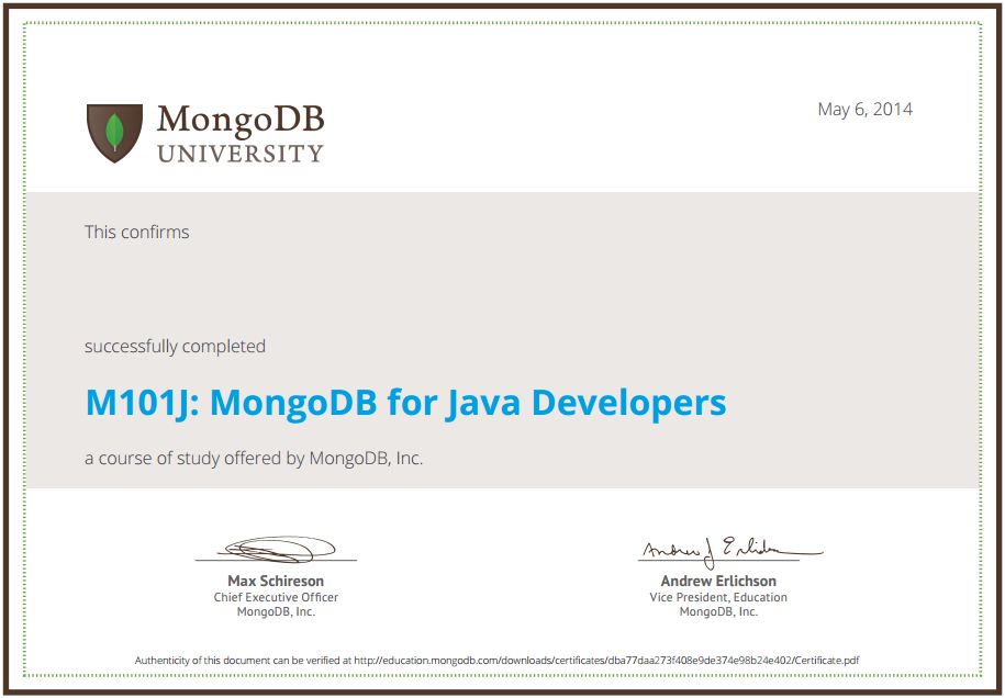 mongodb for java developers homework answers 1.1