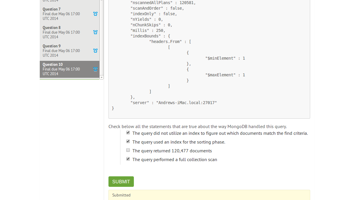 mongodb m101j homework 4.2 answer