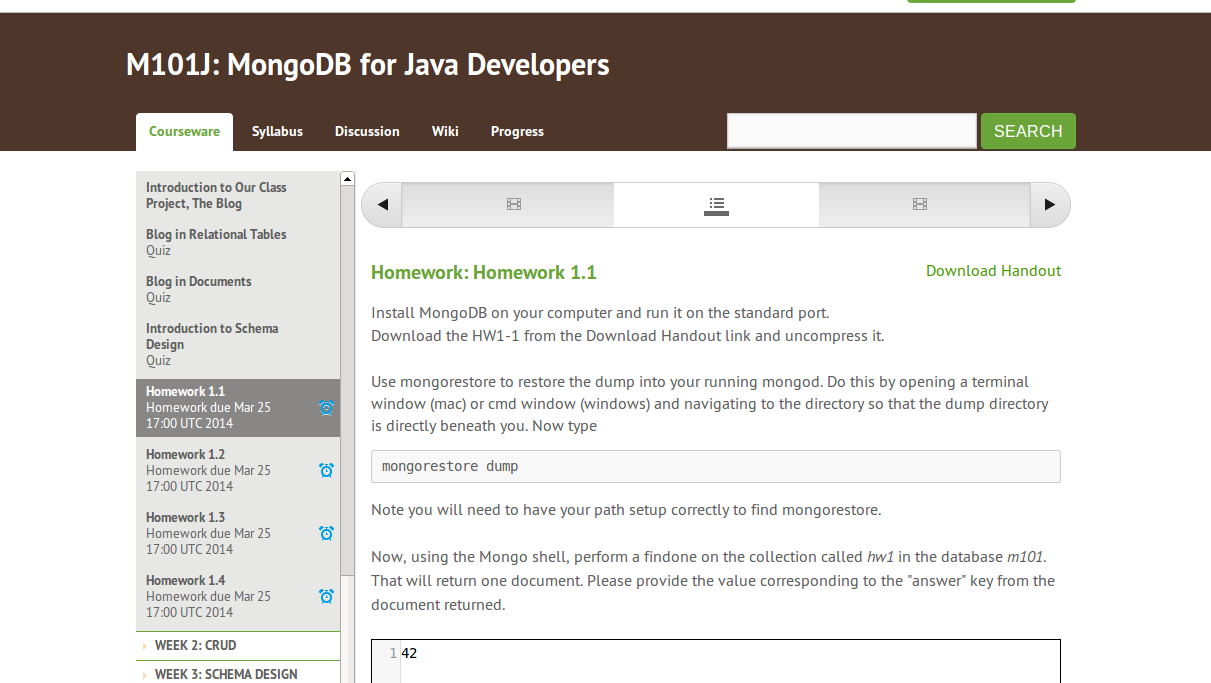 mongodb for java developers homework 1.1