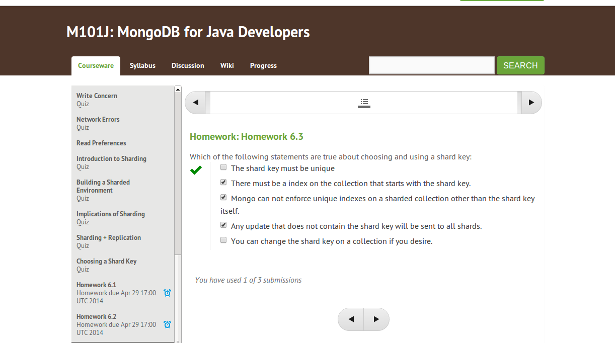 mongodb for java developers homework 3.1 answers