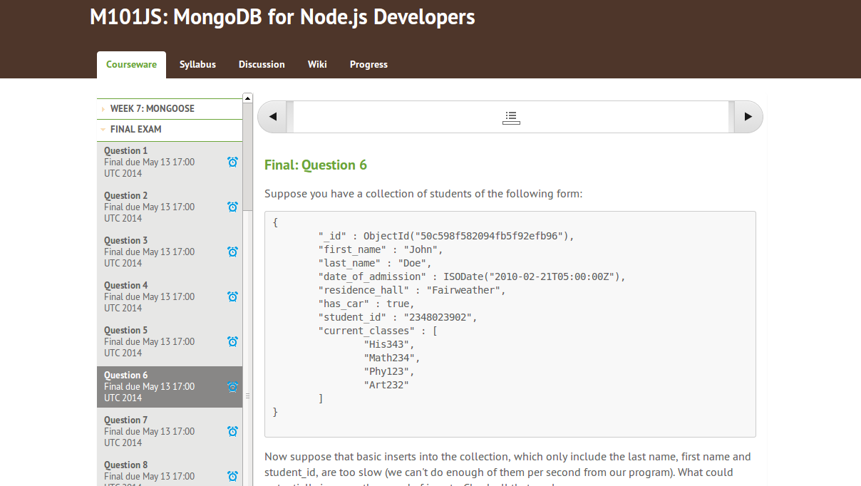 mongodb for node js developers homework 4.3