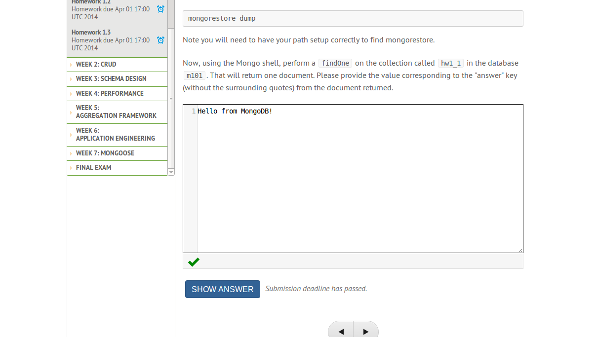 mongodb homework 2.2 answer