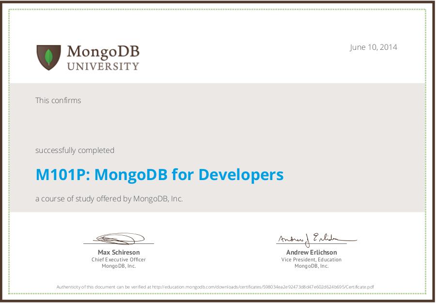 mongodb university homework 5.2