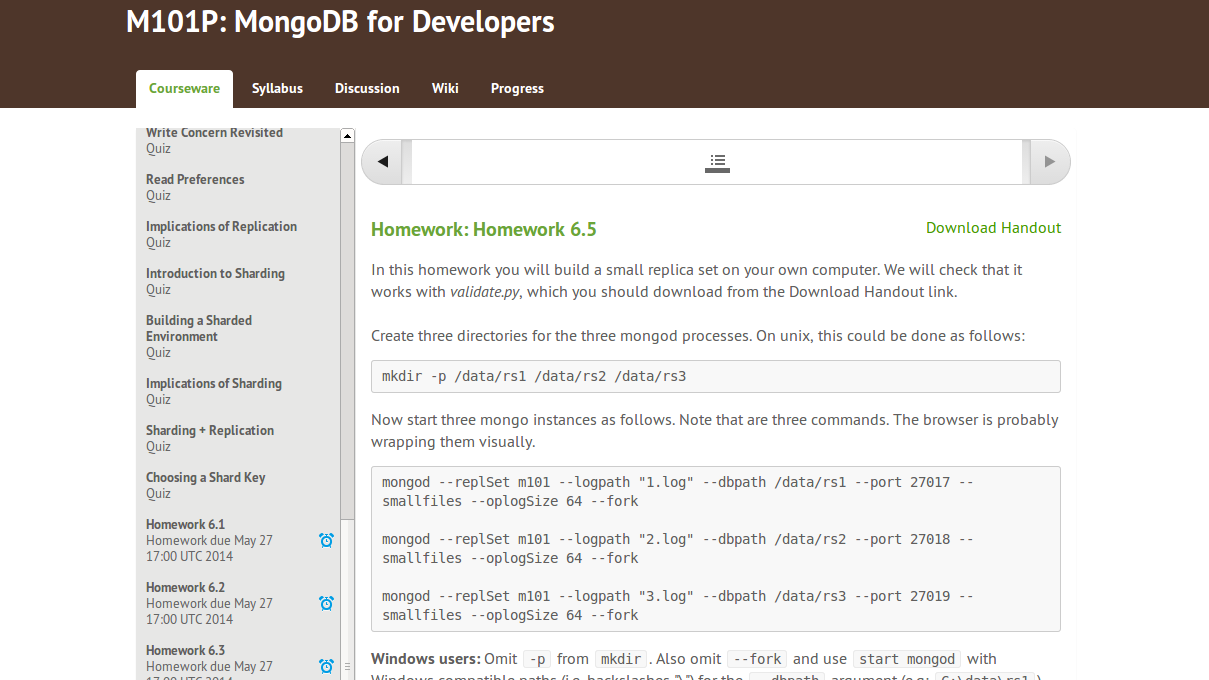 mongodb homework 6.5 answers